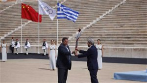 Greece hands over Olympic flame to Beijing 2022 hosts