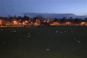 An Edinburgh man collected 20 bags full of rubbish after hundreds of people illegally gathered on the Meadows last night