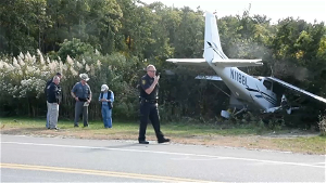 Small Plane Ends Up in Shrubs Near Long Island Airport