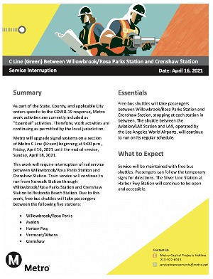 Service Advisory: buses replace C Line (Green) service between Crenshaw and Willowbrook/Rosa Parks this weekend