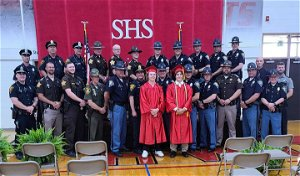 Wabash police, troopers show support for children of fallen officer as they graduate high school