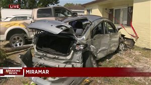 High rate of speed could be cause of driver of Tesla slamming into house in Miramar