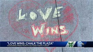 Fiserv Forum plaza filled with messages of love, pride, remembrance