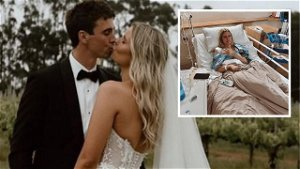 AFL star's wife's shock cancer reveal one week after wedding day