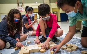 Elementary students in Rochester learn the basics of building a school