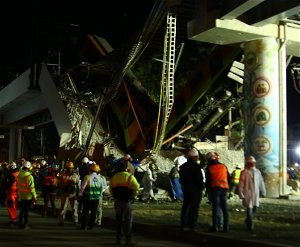 Mexico City rail overpass collapses onto road, killing at least 23