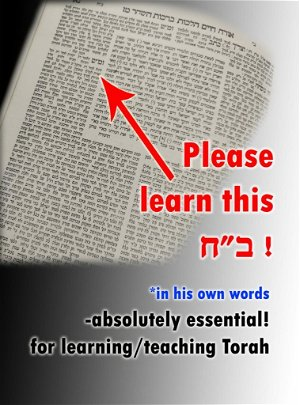 """Please learn this ...(או"""" ח סי' מ""""ז).. *in his own words... Absolutely essential for learning/teaching Torah!"""
