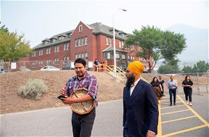 Federal NDP leader visits former residential school on heels of grave discovery