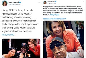 Pelosi shares photo of wrong black player in botched attempt to honor Willie Mays