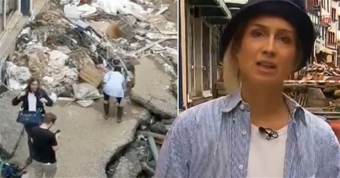 German reporter 'caught muddying herself to pretend she helped flood clean-up'