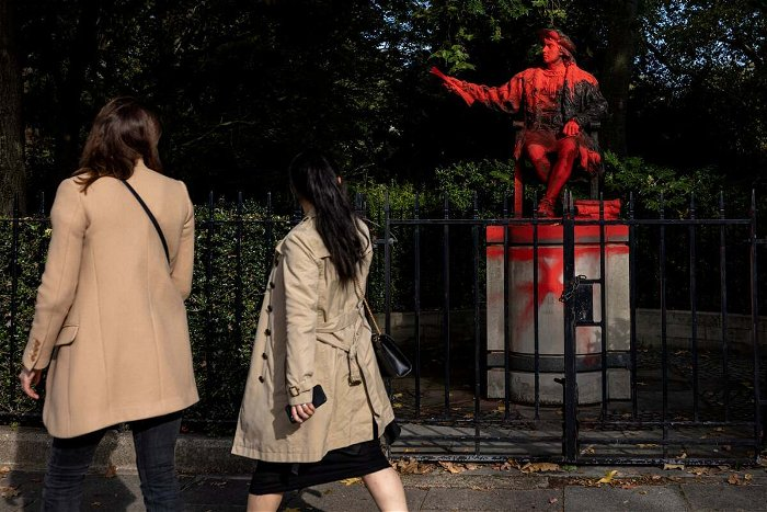 Christopher Columbus statue smattered in red paint in London's Belgrave Square