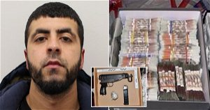 Police stop drug dealer's car and find £220,000 in cash and sub-machine gun