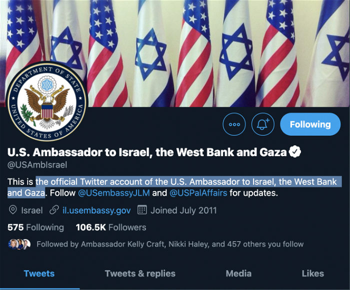 US ambassador to Israel Twitter account briefly includes West Bank, Gaza