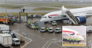 British Airways plane damaged after it tips onto its nose at Heathrow Airport