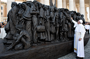 Statues titled 'Angels Unawares' on display at Notre Dame Seminary in New Orleans