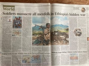 """Today's Times report on Tigray """"Soldiers massacre all menfolk in Ethiopia's hidden war"""". Rwanda all over again as shamefully the world looks on. – David Alton"""