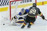Missing all coaches, Vegas loses to Blues 5-4 in shootout