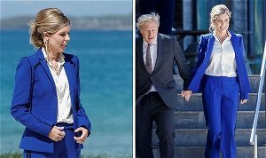 Carrie Johnson wows in rented cobalt blue suit and effortless messy bun