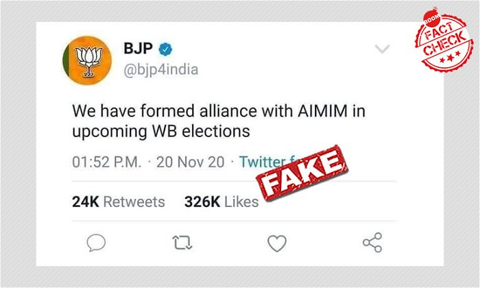 Fake Tweet Screenshot Claims BJP-AIMIM Alliance For West Bengal Polls