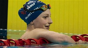 14-year-old Canadian swimmer sets national record in Olympic debut