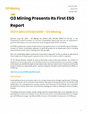 O3 Mining Presents Its First ESG Report