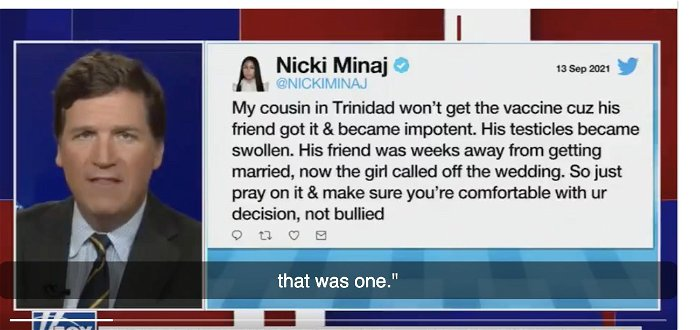 Tucker Carlson Touts Nicki Minaj's Vaccine Comments, Reads Aloud Her Swollen Testicle Tweet
