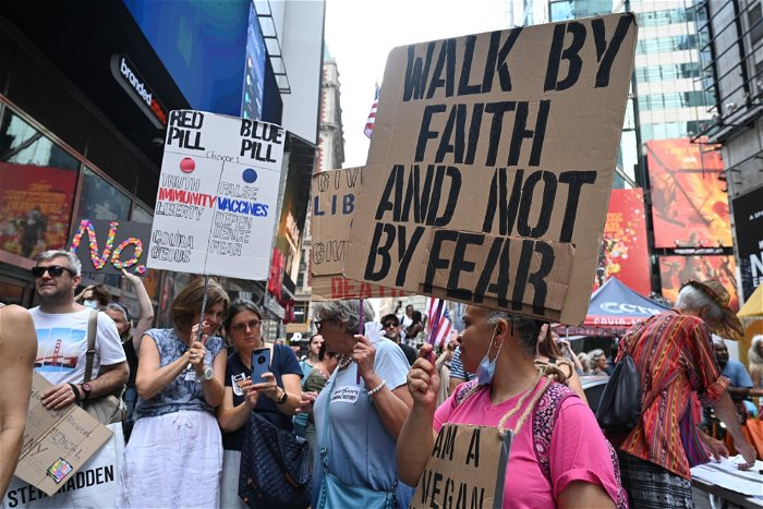 Times Square stormed by anti-vaxxers protesting in NYC